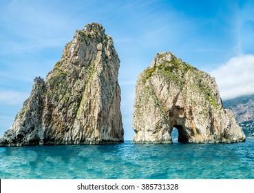 Faraglioni Cliffs, Capri, Italy.