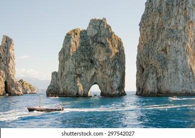 Faraglioni Cliffs, Capri, Italy, Europe