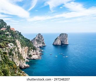 Faraglioni isles view at Capri, Italy.