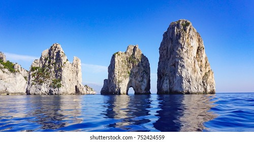 The Faraglioni Rocks on the coast of the island of Capri, Italy
