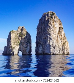The Faraglioni Rocks on the coast of the island of Capri, Italy