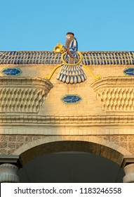 Faravahar symbol at Fire Temple, Yazd, Iran. It symbolizes Zoroastrianism, the main religion of pre-Islamic Persia, and Iranian nationalism.