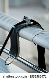 Fare Height Adjuster by Garelick with leather base and metal sconces supported by railings
