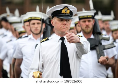 Fareham, UK. 16 May, 2018. At HMS Collingwood the Royal Navy Small Ships and Diving and the Royal Marines prepare to provide ceremonial support to the wedding of Prince Harry and Ms. Meghan Markle.