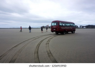 Farewell Spit, South Island, New Zealand, December 2, 2018. Visitors on a Tour by Minivan of the remote Farewell Spit