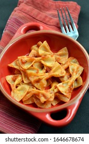 Farfalle or Bow Tie Pasta with Tomato Sauce: Pasta made with almond and coconut flour and is compatible with ketogenic and other low carbohydrate diets.