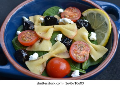 Farfalle Noodle Salad with Goat Cheese: Boe tie shaped noodles made using almond and coconut flour. Suitable for ketogenic, low carbohydrate and gluten free diets.