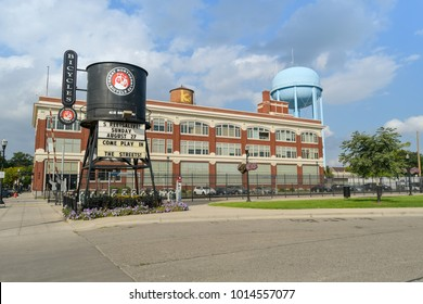 FARGO, ND, USA - August 24, 2017: Great Northern Bicycles Company Logo painted over the old water tower in Fargo, North Dakota, USA.