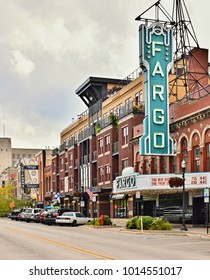 FARGO, ND, USA - SEPTEMBER 22, 2017: Downtown Fargo and the Fargo movie theater in Fargo, North Dakota, USA
