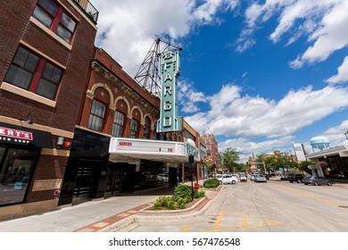 Fargo, North Dakota - 12 July, 2016: Downtown Fargo and the Fargo movie theater on a summer day on 12 July, 2016 in Fargo, North Dakota.