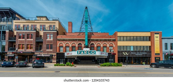 Fargo, North Dakota / USA - June 27 2017: Theater and Street View in Summer