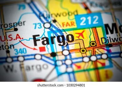 Fargo. North Dakota. USA on a map.