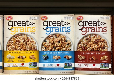 Fargo North Dakota/USA-March 03,2020 , A Boxes Of Great Grains Breakfast Cereal on shelve At a Grocery Store, Great Grains Cereal Is A Post Consumer Brand.