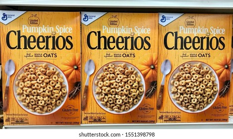 Fargo North Dakota/USA-November 03 ,2019, A boxes of Pumpkin Spice cheerios cereal on shelve at a grocery store, cheerios cereal  is a General Mills, Inc Brand.