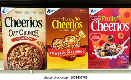 Fargo North Dakota/USA-November 03 ,2019, A boxes of cheerios cereal on shelve at a grocery store, cheerios cereal is a General Mills, Inc Brand.