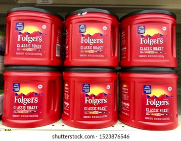 Fargo North Dakota/USA-October 06 ,2019 ,Folgers Coffee on a Local Grocery Store Shelf , Folgers Coffee is a brand of coffee produced in the United States.