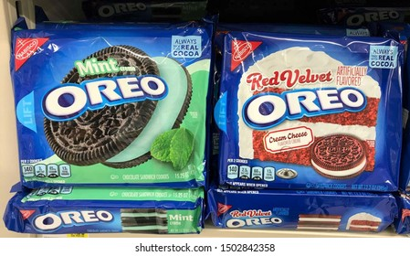 Fargo North Dakota/USA-September 10 ,2019 , Oreo cookie products on shelve at a grocery store, Oreo is a brand of cookie usually consisting of two chocolate wafers with a sweet cream filling.