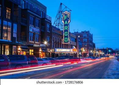 Fargo, USA - March 8 2011: Fargo main st and theater at dusk on a cold spring evening