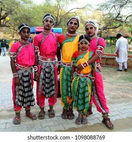 FARIDABAD, HARYANA, INDIA, FEBRUARY 1, 2016 : An unidentified group of  Male Odissi Dancers wears traditional ladies costume and ready to perform