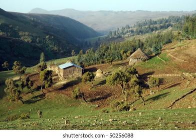 Farm around Simeon mountains in Ethiopia