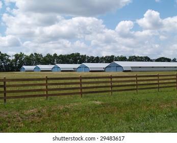 Farm buildings found in rural Georgia behind a board fence.