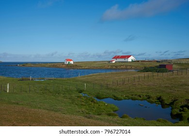 Farm buildings at the settlement on the coast of Bleaker Island in the Falkland Islands