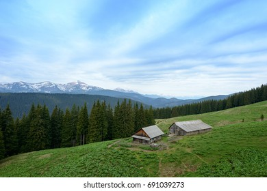 Farm in the Carpathians on the background of snow-capped mountains.