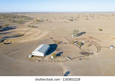 Farm in drought conditions in the far north west of New South Wales, Australia.