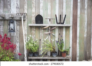 farm equipment on wooden wall with plants