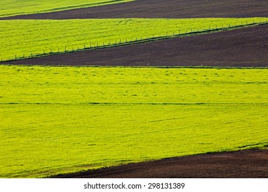 Farm field spring cultivation patterns.