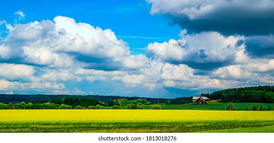 Farm field under cloudy sky. Farm land landscape. Farm field view - Shutterstock ID 1813018276