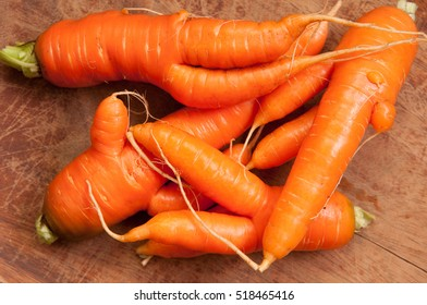 farm fresh ugly carrots bent and twisted