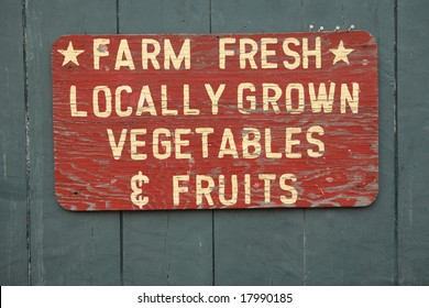 FARM FRESH vegetables and fruits sign at farmers market