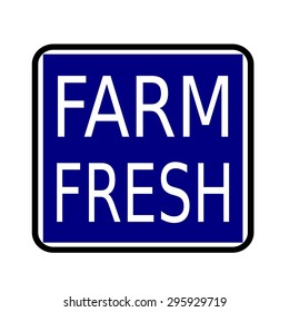 FARM FRESH white stamp text on buleblack background
