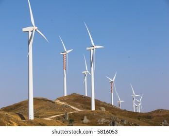 farm of generators electricity to wind