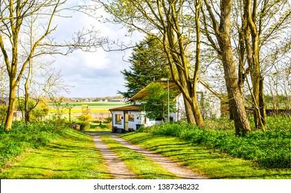 Farm house road landscape view. Rural road at farm house. Farm house road view. Road to farm house