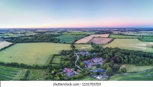 Farm houses near Dumnow, Essex - Stansted - Aerial view