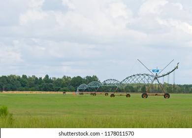 Farm irrigation system used on grass at a sod farm.