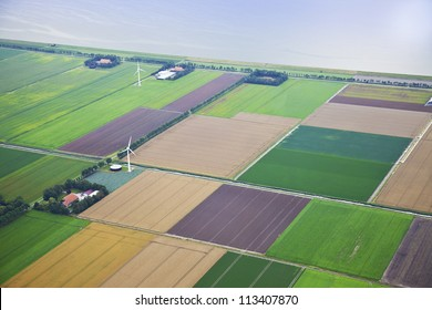 Farm landscape with windmill  from above, The Netherlands