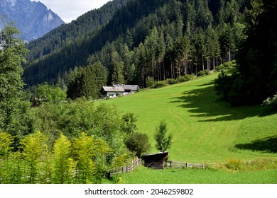 Farm on its plot of land on the edge of a forest in the Antholz Valley