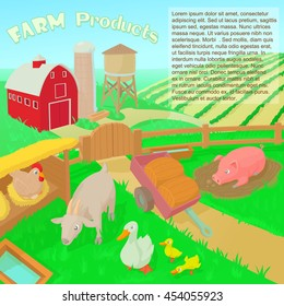 Farm products concept in cartoon style illustration