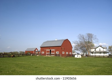 Farm with red barn and white house