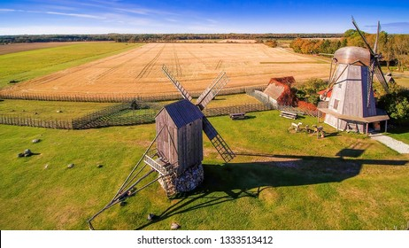The farm with rice fields and windmills found in the small village in Angla in Saaremaa Estonia