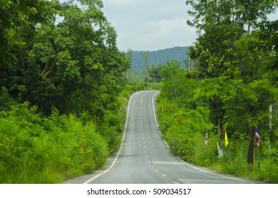 Farm road up hill.