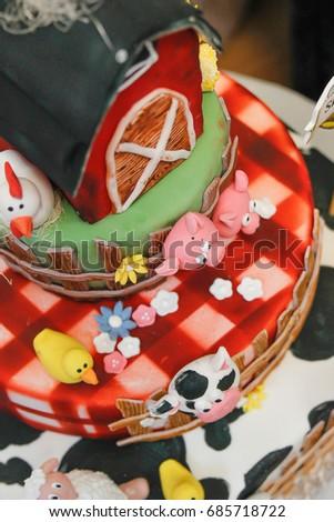 Farm Themed Kids Birthday Cake With Animals Closeup