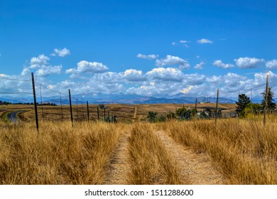Farm trail in Boulder, Colorado. Mountain view, amber grasses and vivid blue sky open up from the trail head.