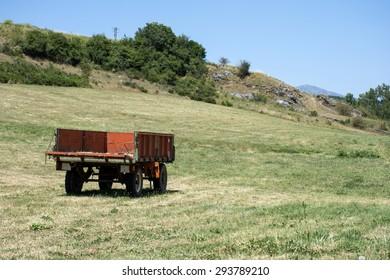 Farm trailer in a spanish field
