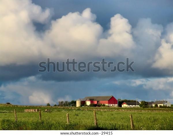 A farm w/ heavy clouds. Rogaland, Norway.