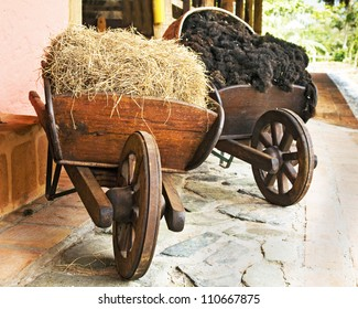 Farm Wooden Wheelbarrows with Hay and Wool