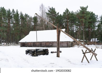 Farm yards replica from the period when all Estonians were peasants. Buildings were used for living, storage and animal sheds. Cold winter period in Estonia. Architecture from slavery period